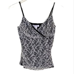 WHBM Black and White Lace Scrunched Side Tank Top